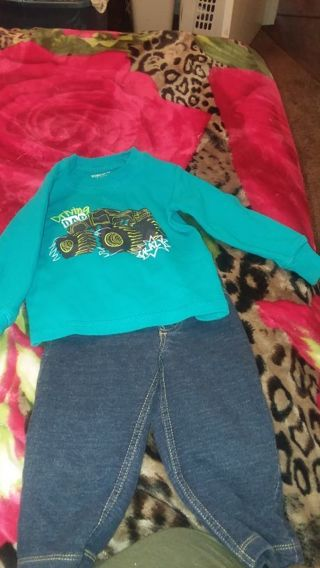 Baby boy shirt and jean size 12months
