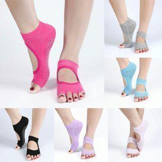 Backless Home Yoga Toe Fiver Finger Non-slip Yoga Sports Cotton PVC Socks