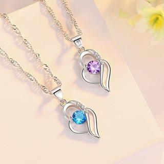 Crystal Zircon Hollow Heart Pendant Necklace