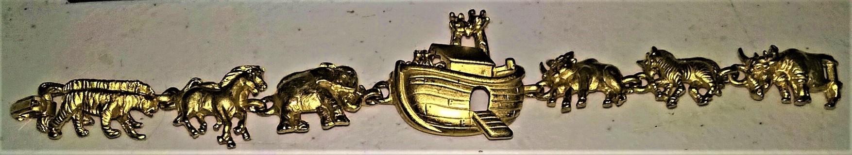 "Bronze Noah's Ark charm bracelet by A.J.C. - 7"" long"