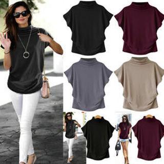 Women Turtleneck Short Sleeve Cotton Casual Blouse Top T Shirt Plus Size Clothes