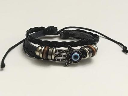 3 Tier Hamsa / Evil Eye Black Leather Adjustable Bracelet