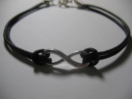 Black Leather Infinity Eternal Friendship Bracelet