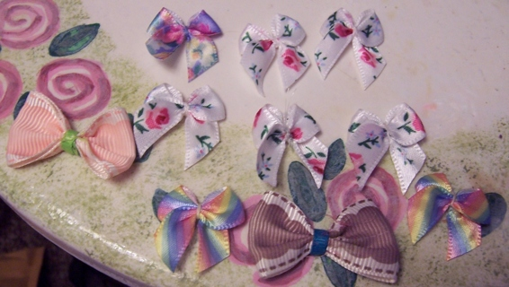 15 Small Bows + 11 Handmade Re-positional shabby chic stickers