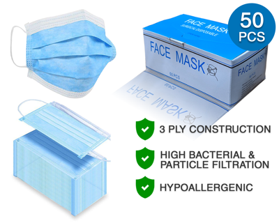 Brand New, 50pc/Box Disposable Face Mask, 100pc/Box Small Exam Gloves & Hand Sanitizer