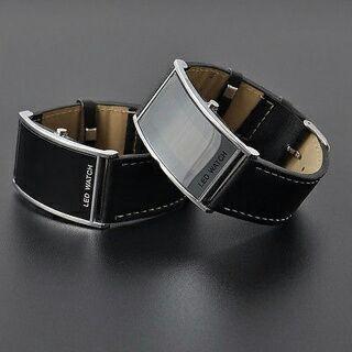 Fashion LED Digital Date Watch Black Leather Strap Casual Lady Men Wristwatch