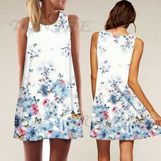 2018 Vintage Boho Women Summer Sleeveless Dress Beach Printed Short Mini Dress