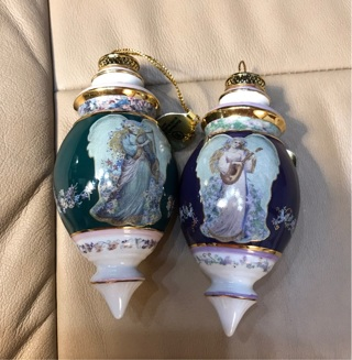 Vintage Collectible Mint (new) Porcelain Christmas Angels Ornaments by Bradford Exchange