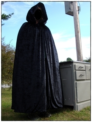 "GORGEOUS!!Handmade, black crushed velvet full length hooded cape approx 47.5"" unisex"