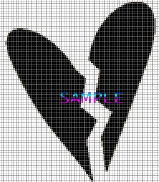 Free New Broken Heart Cross Stitch Pattern Printable