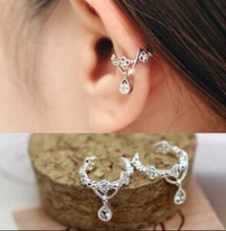 NEW(2) Crystal Crown Water Drop Ear Clips Ear cuffs earrings high quality jewelry pair (not pierced)