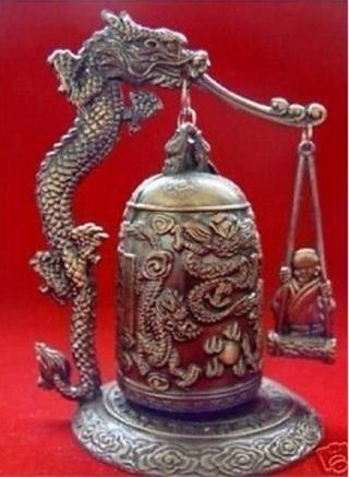 Excellent CHINA Tibet Brass Dragon buddha Bell