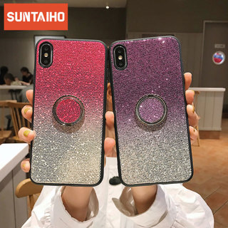 Gradient Glitter Phone case for iphone X XS XR XS Max 7 8 case Ring bracket Stand Cover Case for