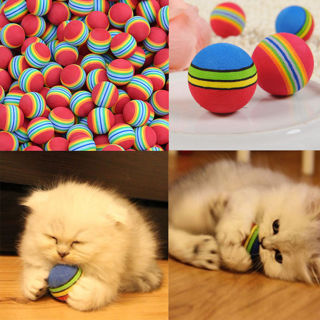 6pcs Colorful Pet Cat Kitten Soft Foam Rainbow Play Balls Funny Activity Toys il