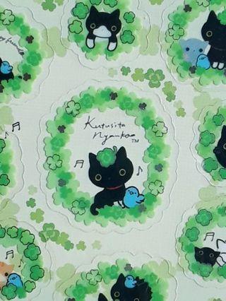 "SanX '2016' Kutusita Nyanko ""Clover Series"" Sticker Sheet & *16* Matched Mini Memos ☆Kawaii Bonus"