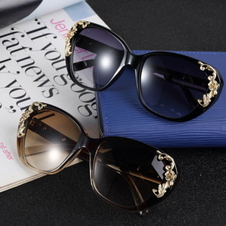 [GIN FOR FREE SHIPPING] Gold Rose Flower Carving Women Fashion Cat Eye Vintage Sunglasses