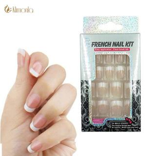 24 PCS Nail Art Tips Classic French New Girls/Bride Pre Designed Fashion French Nail Tips ABS Fals