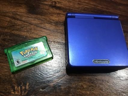 Nintendo Game Boy Advance SP AGS-001 Blue Plus Pokemon Emerald Game