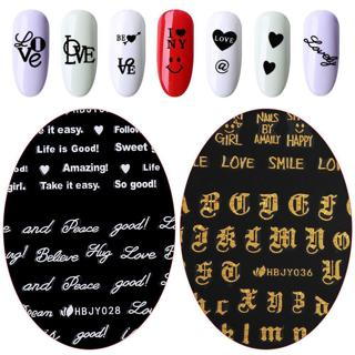 Nail Sticker Love Text English Letter Number Art Water 3D Transfer Decal Set