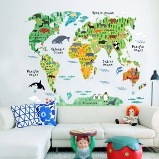 Colorful Animal World Map Wall Sticker Home Decal