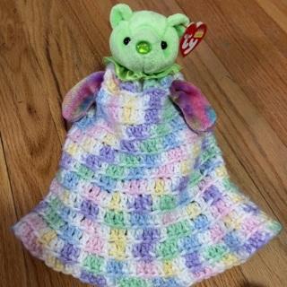 Hand Crochet Dress and large ty Beanie Bear.