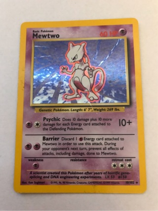 Pokemon Card Mewtwo Holo Rare Base Set 10/102