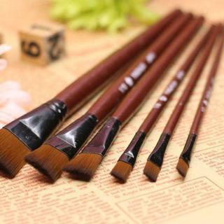 6PCs Artist Brown Nylon Paint Brushes Pen Drawing Acrylic Oil Paint Art Supplies