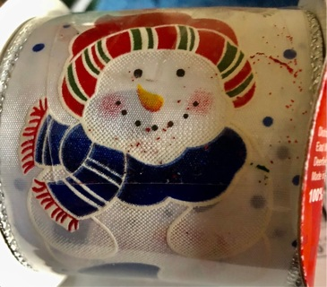 """Brand New: Nine Foot Roll of Wire Edged  Snowman Ribbon!! 2.5"""" Thick"""