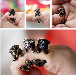 Vintage Adjustable Pug Dog Animal Wrap Fashion Jewelry Rings Gift for Women Men