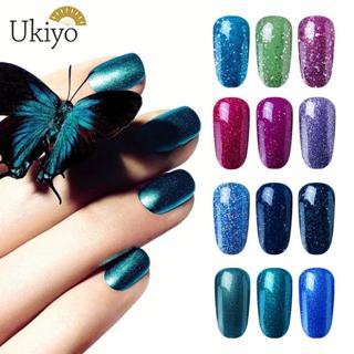 Ukiyo 8ml Soak Off Gel Varnish UV Glitter Gel Nail Polish Semi Permanent Gel Lacquer Nail Art Desi