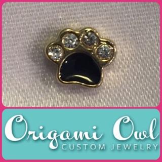 Authentic Origami Owl PAW PRINT Locket Charm with Rhinestones!