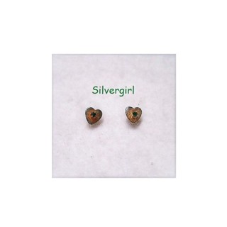 Very Small Vintage Gold Tone Heart Green Stone Stud Earrings