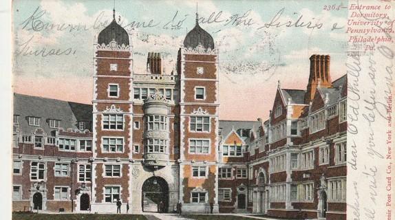 Vintage Used Postcard: 1906 Dormitory, University of Pennsylvania, Philadelphia, PA