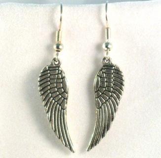 Silver Angel's Wings Dangle Earrings - New