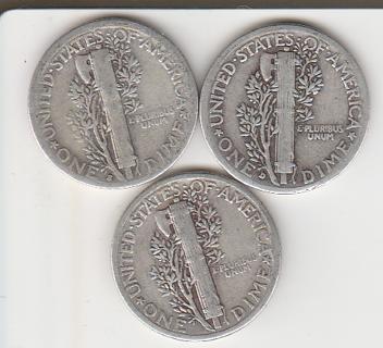 Silver 1937 P-D-S Mercury Dimes