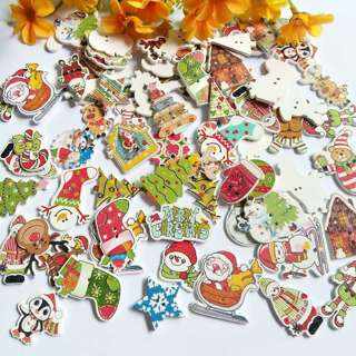 [GIN FOR FREE SHIPPING] 50Pcs Mix Christmas 2 Holes Decorative Wooden Buttons Handmade