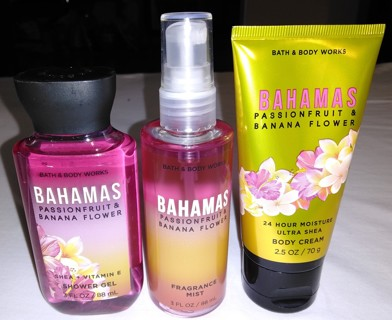 Brand New Bahamas Passion Fruit & Banana Flower Bath and Body Works 3 Piece Set