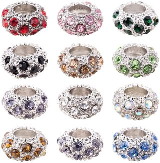 10pc Euro Mixed Color Alloy Rhinestone Beads Lot 16B (PLEASE READ DESCRIPTION)