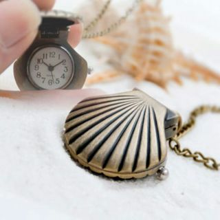 Antique Bronze Shell Quartz Pendant Necklace Chain Small Fob Pocket Watch Gift