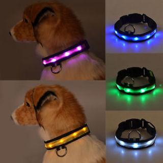 Waterproof LED Dog Pet Collar Flashing Luminous Adjustable Safety Light Up Tag