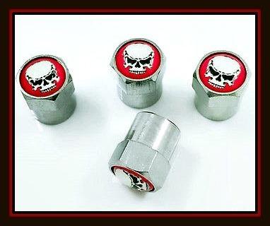 4-Piece Set of SKULL SKELETON HEAD Tire VALVE Stem CAPS!