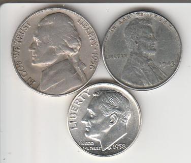 1958-D Dime 1943 Cent 1956-D Nickel!