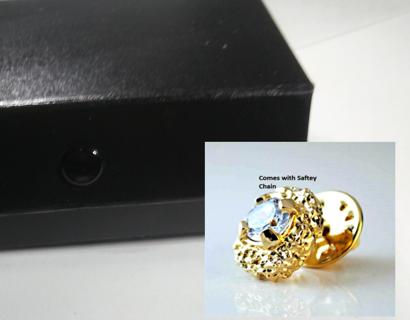 Mens Nugget CZ Tie Tac with Jewelry Wardrobe NWT