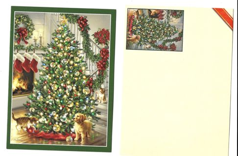 Vintage Christmas Card Unused With Envelope Dog with Christmas Tree