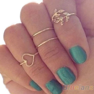 NEW 2018 - 4PCS/Set Rings Urban Gold Plated Crystal Plain Above Knuckle Ring Band Midi Ring