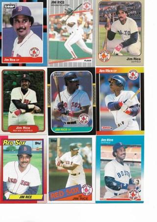 (9) Jim Rice Baseball Cards