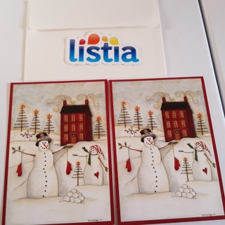 2 Snowman Christmas Cards with Gold Foil Envelopes