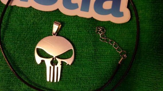 PUNISHER NECKLACE ■STAINLESS STEEL PENDANT■BNIP!■LEATHER ROPE NECKLACE ■FREE $HIP(FROM & TO U.S.)