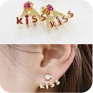 Kiss Lettered Rhinestone Earrings BNWT