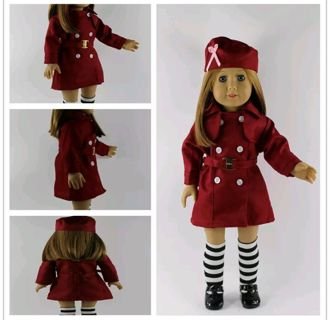 2016 red suit clothes dress set for 18 inches American girl doll party b101